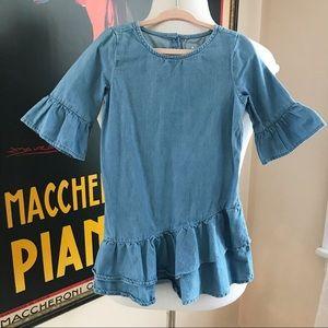 GAP Blue Chambray Asymmetrical Ruffled Toddler 3T